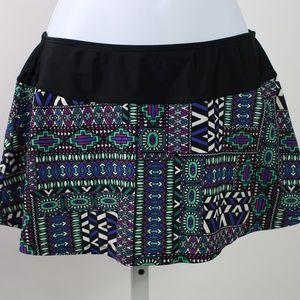 PrAna Sakti swim skirt black purple green bottoms